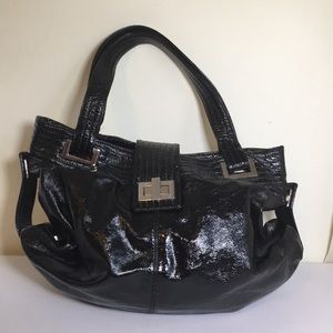 Kooba black large shiny leather shoulder bag